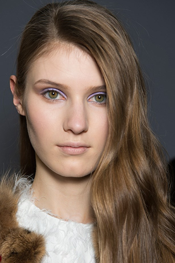"<strong>Fleck of colour<BR></strong> The Chloé beauty look delivered pastels for the colder months. Makeup artist Diane Kendall applied M.A.C Eye Shadow in Beautiful Iris ($33, <a href=""http://maccosmetics.com.au"">maccosmetics.com.au</a>) for a smoky violet eye, framed by a defined, neat brow."