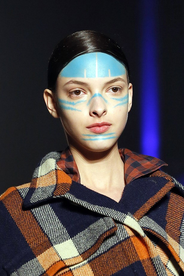 <strong>Culture kid<BR></strong> Vivienne Westwood's AW14-15 collection was inspired by the costume archives at the Victoria and Albert museum and a recent trip to the Ashaninka tribe in Peru. Makeup artist Val Garland's painted faces were a nod to the Peruvian reference. The result: eco urban warrior.