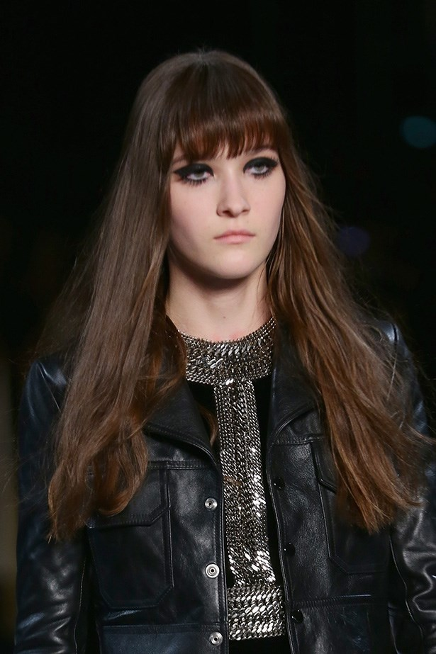 <strong>Retro 'do<BR></strong> Saint Laurent's AW14-15 aesthetic was rebellious '60s – the hair followed suit with plenty of long Jane Birkin-style fringes and retro centre-parts.