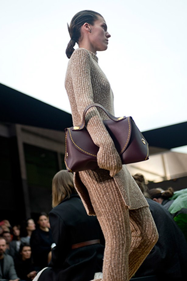 Buttery clutches in sumptuous wine-tones at Celine.