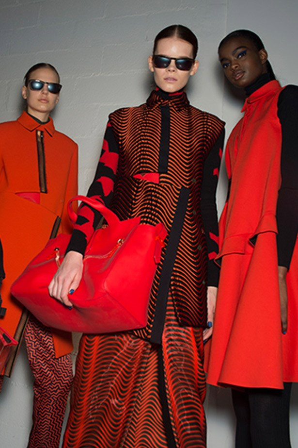 Big red overnight bags at Kenzo.