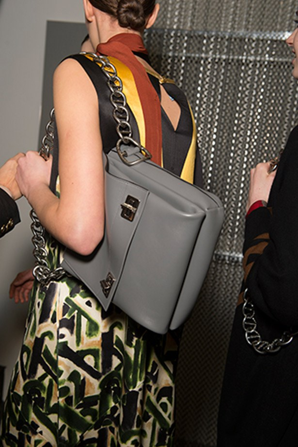 Prada's grey chain carry-all. It-bag in the making? You bet.
