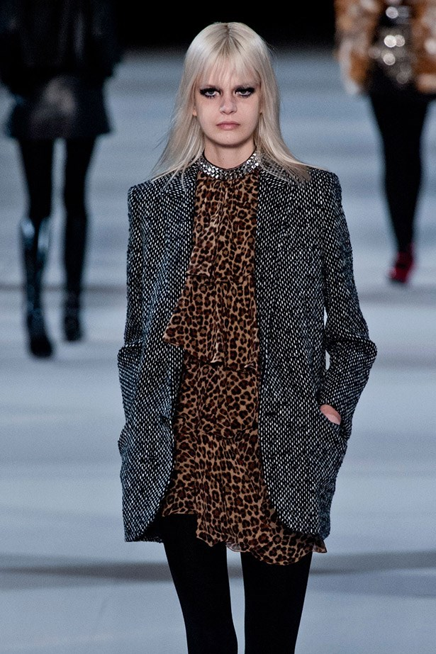 <strong>Caroline Schurch</strong> <br> Off-runway, Swiss model Caroline Schurch's M.O consists of vintage jeans and leather biker jackets, so naturally she fit right in with Saint Laurent's cool-kid show. She also walked for Antonio Beradi and Pringle of Scotland.