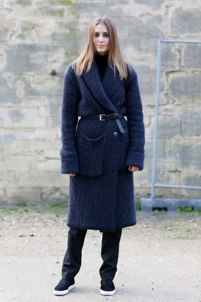 Belt a navy over-sized knit for the perfect Parisian chic look.
