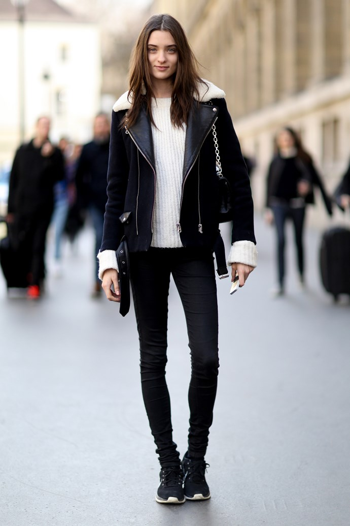 Sport a bulky fur-lined motorcycle jacket with denim and sneakers and feel like one of the (chic) boys.