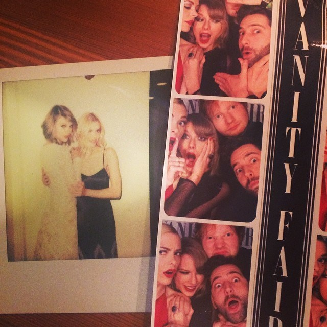Taylor Swift at the Vanity Fair party with Ed Sheeran, Jamie King and Ellie Goulding