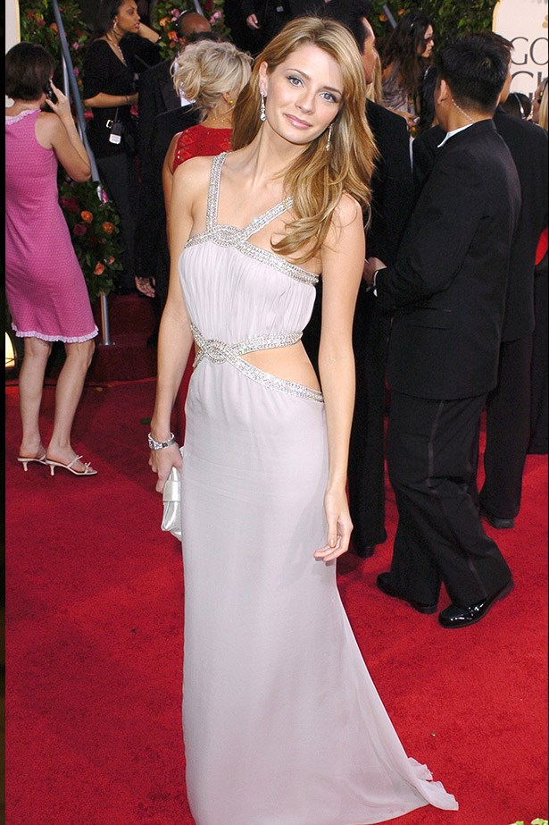 Mischa Barton wearing a lavender Loris Azzaro gown at the 2005 Golden Globe Awards.
