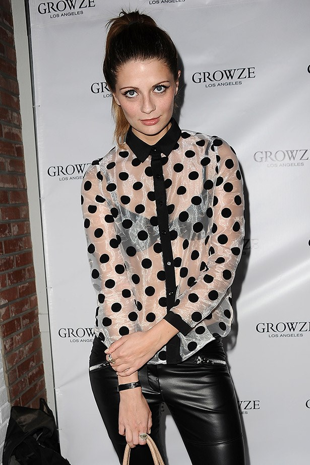 Mischa Barton in a sheer spotted shirt in Los Angeles, 2012.