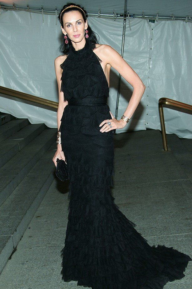 Scott arrives at the 2005 Costume Institute Gala in New York wearing a black halter ruffle-dress.