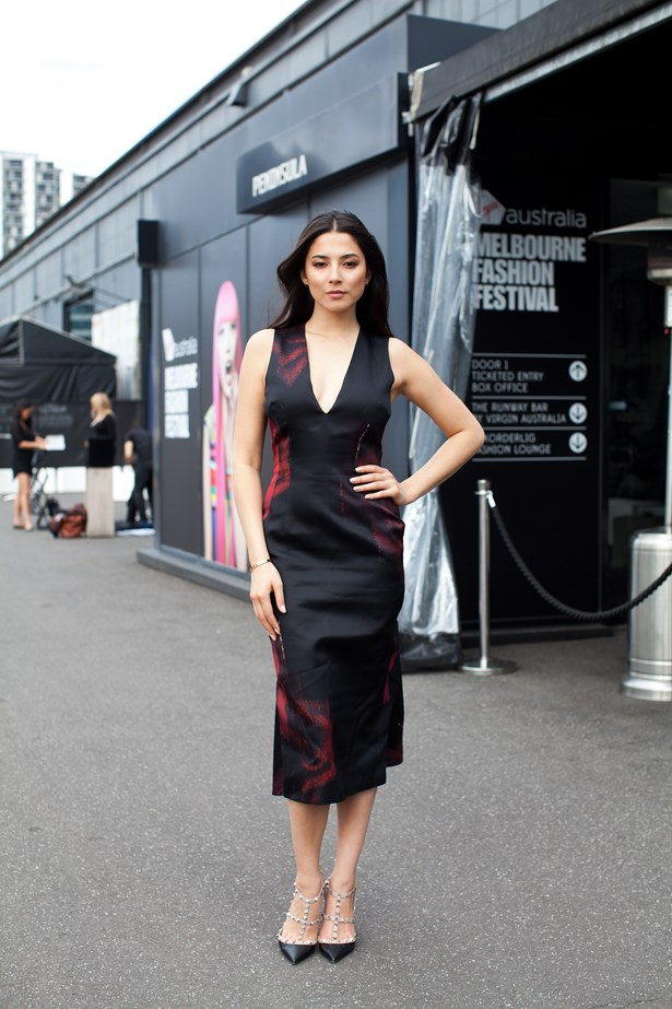 Jessica Gomes wearing Josh Goot and Valentino at VAMFF <br><br>Photography: Liz McLeish