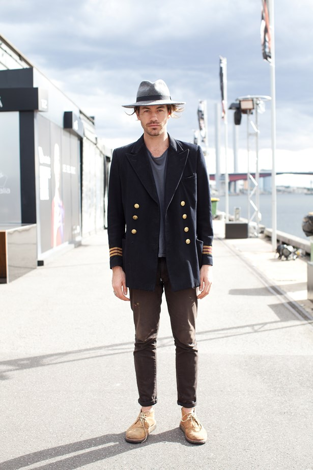 Will Collins wearing Acne tee, a French connection hat, and vintage jacket at VAMFF <br><br>Photography: Liz McLeish