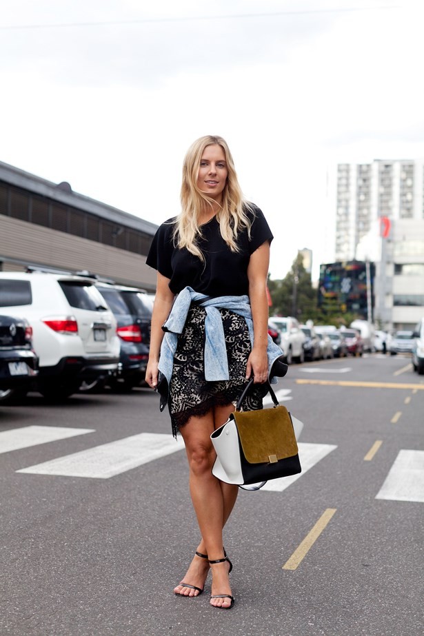 Lisa Hamilton wearing an Ellery top, Lover skirt and Celine bag at VAMFF <br><br>Photography: Liz McLeish