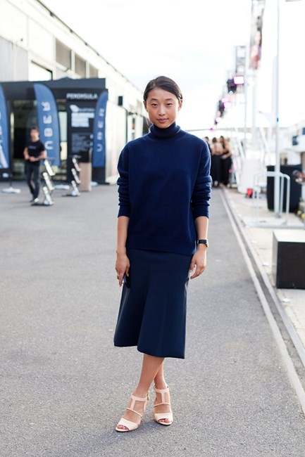 Margaret Zhang wears a Bassike knit and skirt
