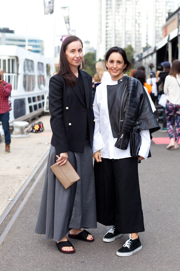Deborah (left) wears a Celine blazer and Lou (right) wearing a Bassike shirt & pants at VAMFF <br><br>Photography: Liz McLeish