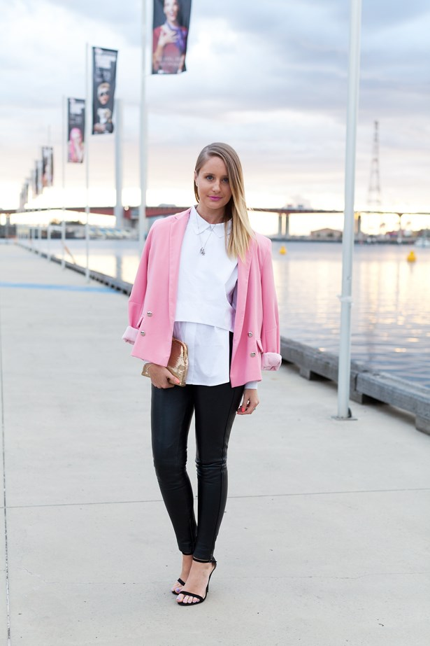 Tiffany Newman wears a Topshop jacket with a vintage clutch at VAMFF <br><br>Photography: Liz McLeish