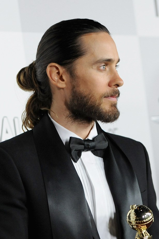 Leto collected his Golden Globe earlier this year with a chic, low man-bun.
