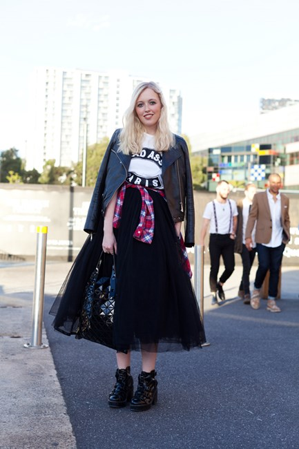 Daisy Aitken wears Vintage Jacket, Cecile tee, vintage Comme des Garcon skirt with Issey Miyake bag and Acne boots.
