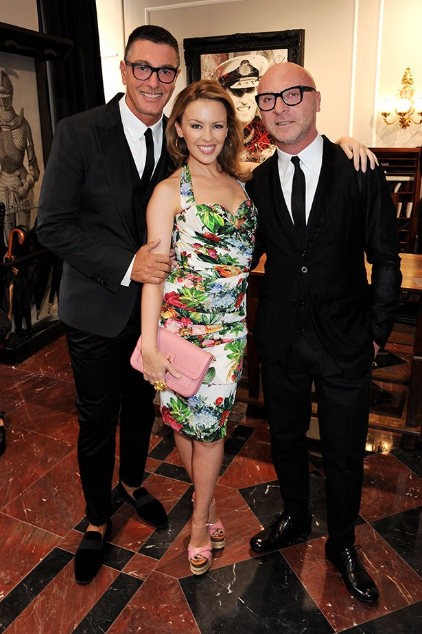 Domenico Dolce and Stefano Gabbana with Kylie Minogue