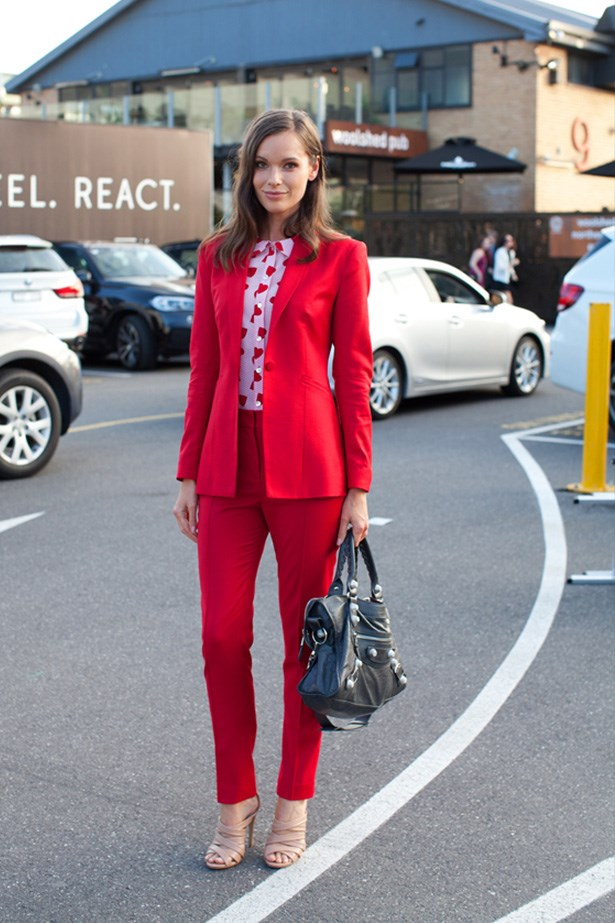 "Julia Pratt wears JB J'Aime suit and shirt with Balenciaga bag. <p>Photography: Liz McLeish</p> <p><a href=""http://www.elle.com.au/fashion/street-style/2014/3/vamff-14-street-style/vamff-nicole-warne/"">See the street style from day one of VAMFF</a></p>"