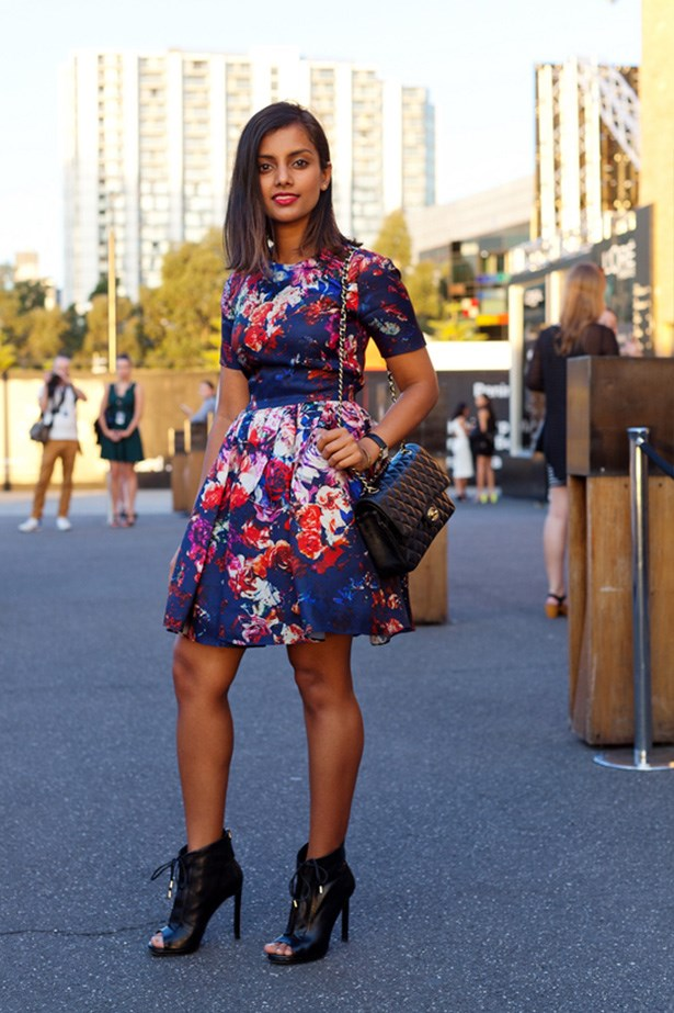 "Sheetal Mudumba wears MSGM dress, Chanel bag and Wittner shoes. <p>Photography: Liz McLeish</p> <p><a href=""http://www.elle.com.au/fashion/street-style/2014/3/vamff-14-street-style/vamff-nicole-warne/"">See the street style from day one of VAMFF</a></p>"