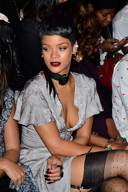RIhanna at opening ceremony with black mullet at dark lips