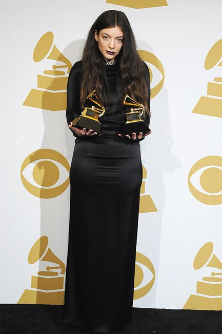 Lorde wearing Balenciaga dark lipstick at the Grammys