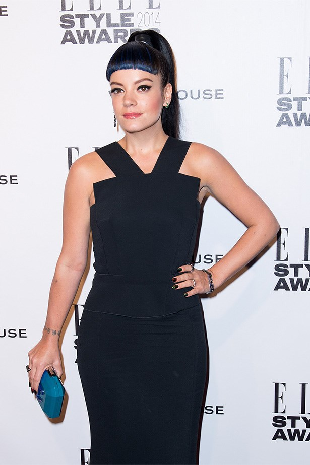 <strong>Pop goth<BR></strong> Singer Lily Allen has burst back onto the scene after a maternity hiatus. She's got a new album, a new 'do and a new stylist, it seems – arriving at the <em>ELLE</em> Style Awards with a killer blue, blunt fringe and black couture dress.