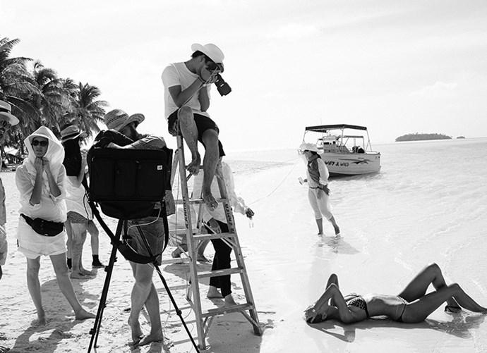 """A great location and amazing team – photographer Darren McDonald, stylist Jillian Davison, makeup artist Kelly Stratton and creative director Emil Vrisakis."""
