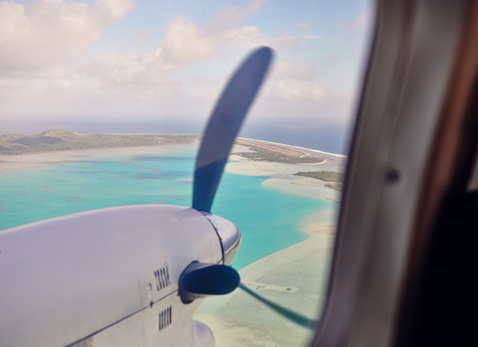 """The amazing approach into Aitutaki from Rarotonga."""