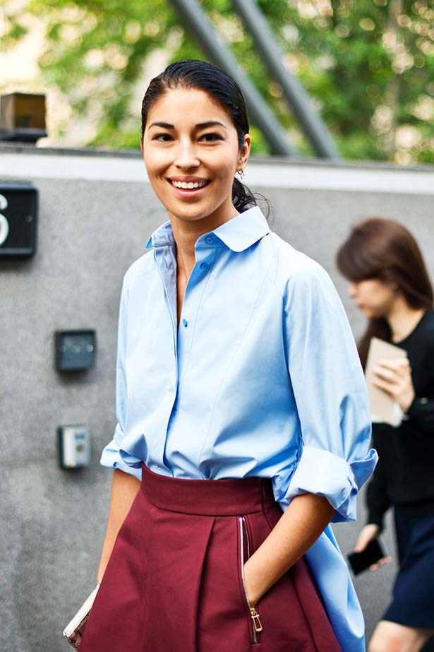 <p>To button or not to button?</p> <p>Either works as long as your shirt is smart, clean and pressed. A closed collar buttoned to the neck is just the thing for feminine full skirts and mid-calf-grazing hemlines. For a relaxed, mannish attitude, follow Tank fashion director Caroline Issa's lead and leave buttons undone to introduce a devil-may-care informality to dressier pieces in need of a shake-up. Stick to a two to three button rule when opening it up, especially in the workplace.</p>