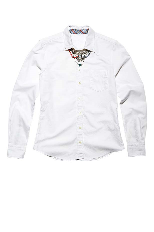 "<p>Shirt, $179, Gant, (03) 9340 5200</p> <p>Necklace, $39.95, Bowie Accessories, <a href=""http://www.bowieaccessories.com.au"">bowieaccessories.com.au</a></p>"