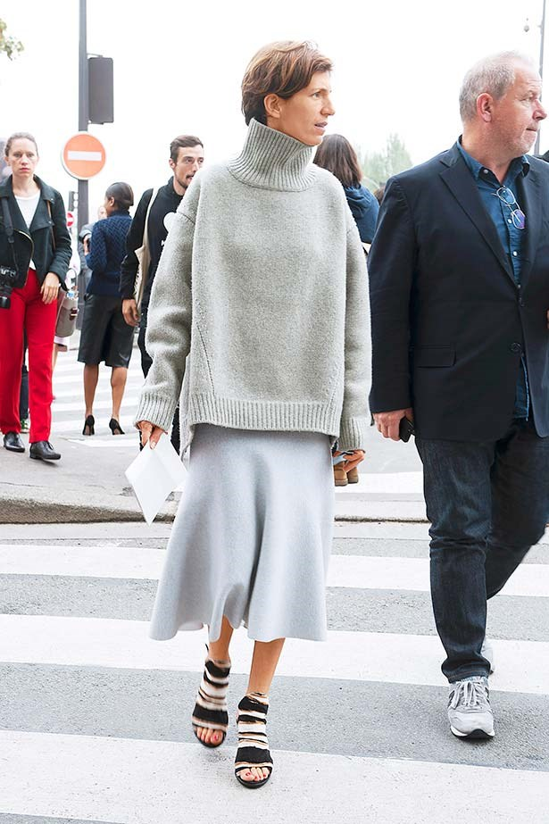 """""""I adore the combination of an oversized cashmere sweater with a soft fluted skirt. So effortless and elegant. The tribal heels give the look an offbeat twist."""""""