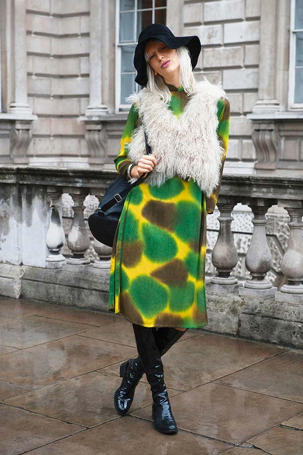 """""""A hairy gilet is the perfect throw-on over a kooky tie-dye dress. I appreciate a fashion maverick, and this girl's got originality written all over her."""""""
