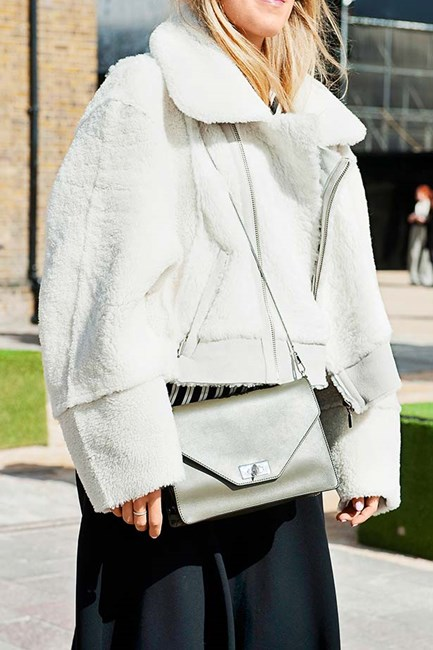 Pure white shearling