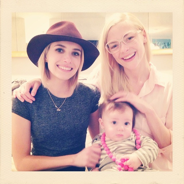 Jaime King with her son and Emma Roberts @jaime_king