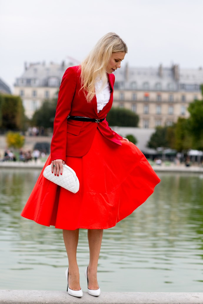 Brilliant red is the perfect head-to-toe hue for living out a modern romance.