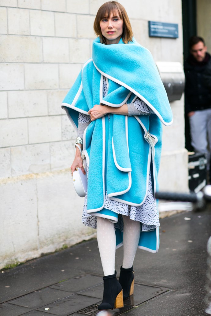 Waves of cool: aquamarine outwear lifts a neutral colour palette.