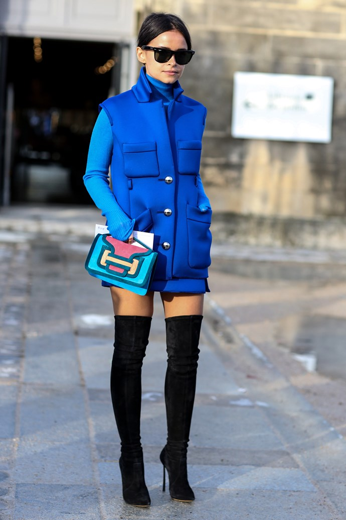 Pair tones of sapphire and cerulean to wash away your street style blues.