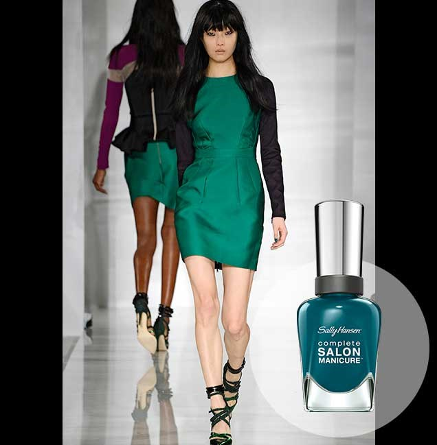 "Bold, electric greens were a big feature of the Antonio Berardi show at London Fashion Week. <p> <em>Jungle Gem, RRP $14.95</em><br> <a href=""http://en-au.sallyhansen.com/en-au/products/nails/nail-color/complete-salon-manicure-0"" target=""_blank"">Find your colour match from the Complete Salon Manicure Range.</a>"