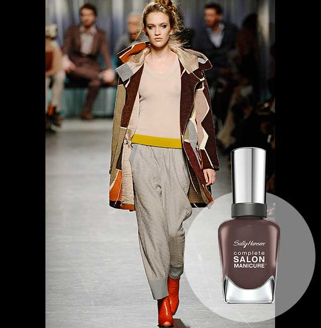 """Deep earthy browns added depth and detail to the Missoni A/W collections at Milan Fashion Week. <p> <em>Bittersweet, RRP $14.95</em><br> <a href=""""http://en-au.sallyhansen.com/en-au/products/nails/nail-color/complete-salon-manicure-0"""" target=""""_blank"""">Find your colour match from the Complete Salon Manicure Range.</a>"""