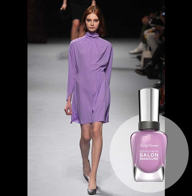 "At the Nina Ricci show in Paris, purples of all shades were seen paraded down the catwalk. <p> <em>Purple Heart, RRP $14.95</em><br> <a href=""http://en-au.sallyhansen.com/en-au/products/nails/nail-color/complete-salon-manicure-0"" target=""_blank"">Find your colour match from the Complete Salon Manicure Range.</a>"