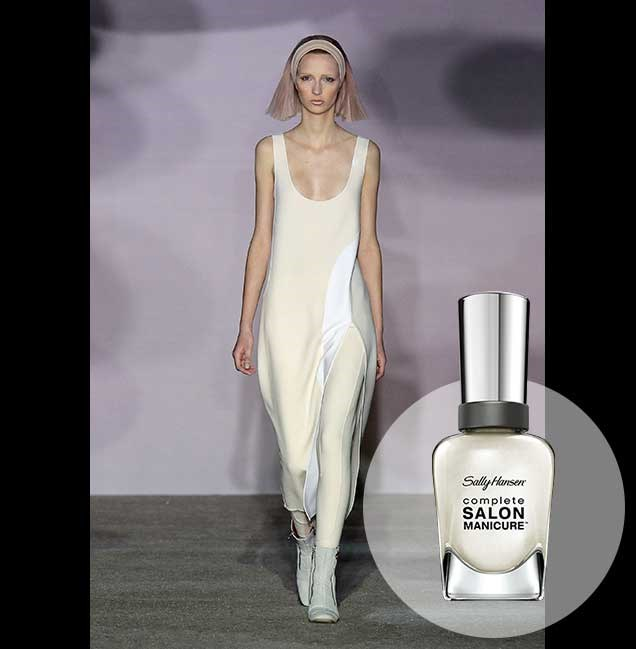 "Creamy ivories and clean, crisp white worked side by side at the Marc Jacobs show in New York. <p> <em>Ivory Coat, RRP $14.95</em><br> <a href=""http://en-au.sallyhansen.com/en-au/products/nails/nail-color/complete-salon-manicure-0"" target=""_blank"">Find your colour match from the Complete Salon Manicure Range.</a>"
