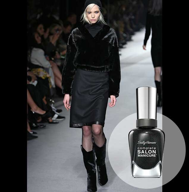 "Tom Ford's A/W collection at London Fashion Week went big on all-black ensembles, playing up contrasting textures. <p> <em>Midnight in NY, RRP $14.95 </em><br> <a href=""http://en-au.sallyhansen.com/en-au/products/nails/nail-color/complete-salon-manicure-0"" target=""_blank"">Find your colour match from the Complete Salon Manicure Range.</a>"