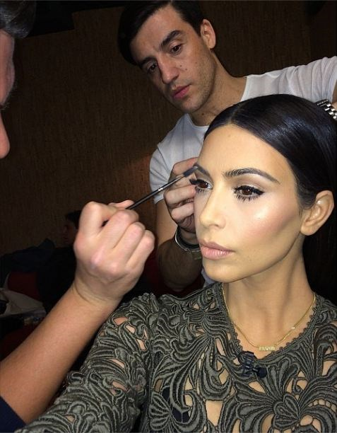 Kim Kardashian getting the final touches before going on Late Night with Seth Myers