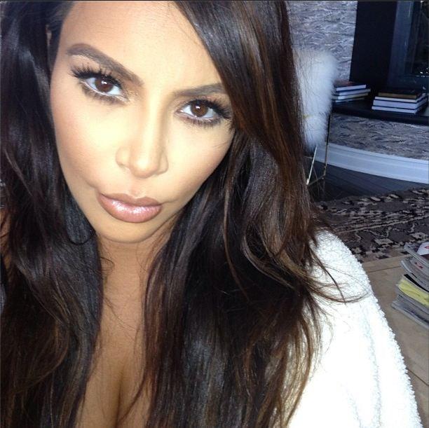 This selfie of Kim Kardashian highlights her makeup artist's contouring skills.