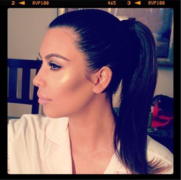 Kim Kardashian's perfect highlighting and perfect ponytail