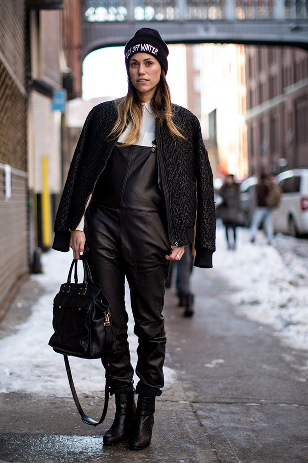 Lazy girl dressing 101: invest in chic leather overalls.