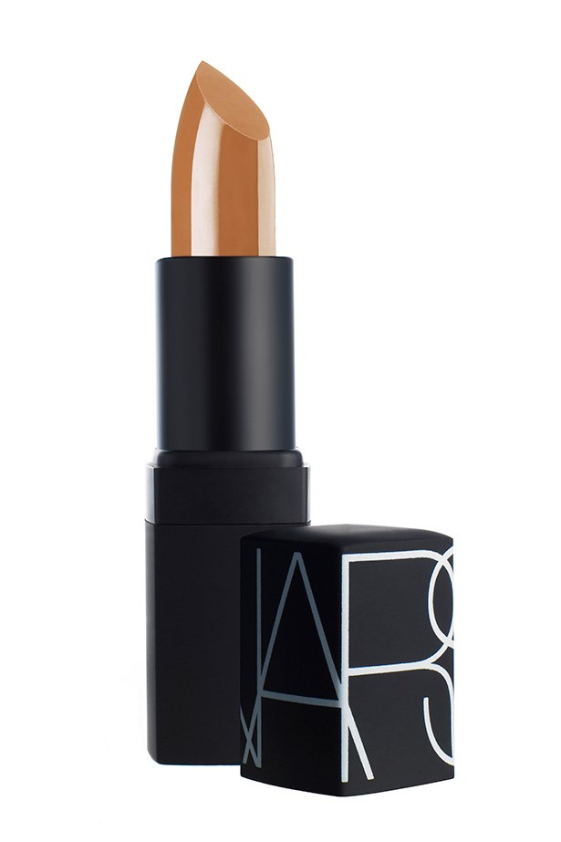"""Belle de Jour lipstick, $39, Nars, <a href=""""http://meccacosmetica.com.au"""">meccacosmetica.com.au</a> Kim Kardashian's favourite nude lipstick is a yellow-based pigment - perfect for the star's olive skin and dark tresses."""