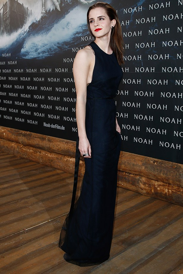 Emma Watson looking very sultry in a Wes Gordon gown at the Berlin premiere of <em>Noah</em>.