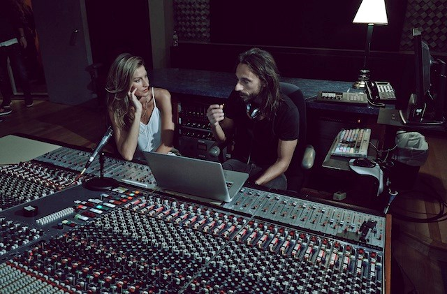Gisele and Bob Sinclair in the studio